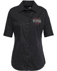 Love Moschino Glitter-embellished Stretch-cotton Poplin Shirt Black