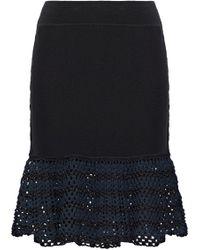Opening Ceremony - Open Knit-paneled Stretch-knit Mini Skirt - Lyst