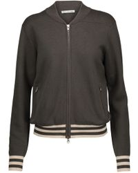 Autumn Cashmere - Milano Knitted Cotton Bomber Jacket Army Green - Lyst