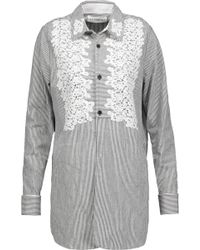 Robert Rodriguez - Lace-trimmed Striped Cotton-blend Shirt - Lyst