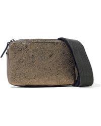 Brunello Cucinelli - Embellished Metallic Cracked-leather Shoulder Bag - Lyst