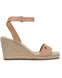 Tory Burch - Leather Espadrille Wedge Sandals - Lyst
