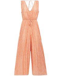 Vanessa Bruno Levana Cropped Floral-print Jacquard Jumpsuit Antique Rose - Pink