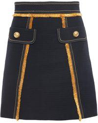 Peter Pilotto Frayed Cotton-blend Twill Mini Skirt Navy - Blue