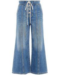 Zimmermann Juliette Cropped Lace-up High-rise Wide-leg Jeans - Blue