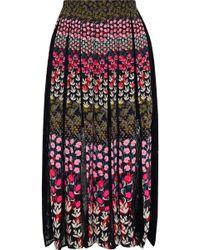 Saloni Petra Lace-paneled Pleated Floral-print Crepe Midi Skirt Multicolour