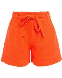Joie Daynna Belted Linen Shorts - Orange
