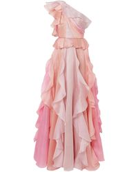 Marchesa - One-shoulder Ruffled Silk-organza Gown Baby Pink - Lyst