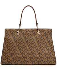 DKNY Logo-print Faux Leather Tote Light Brown