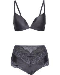 Zimmermann Satin And Lace-paneled Triangle Bikini - Grau