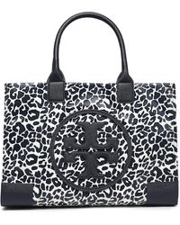 Tory Burch Faux Leather-trimmed Leopard-print Twill Tote Animal Print - Multicolour