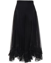 Zimmermann Sabotage Lace-trimmed Flocked Silk-georgette Midi Skirt Black