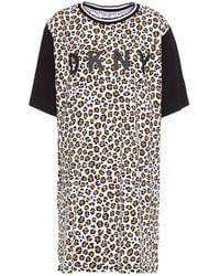 DKNY Printed Cotton-blend Jersey Nightdress Animal Print - Black