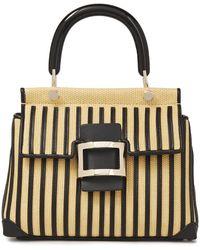 Roger Vivier Viv Cabas Mini Leather-trimmed Raffia Shoulder Bag Beige - Natural