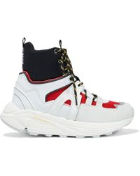 Ganni Suede, Leather, Rubber And Mesh High-top Sneakers - White