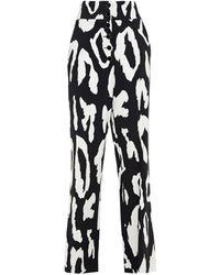 Just Cavalli Leopard-print Crepe Straight-leg Trousers - Black