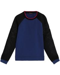 Roberto Cavalli - Embroidered Two-tone French Cotton-blend Terry Sweatshirt - Lyst