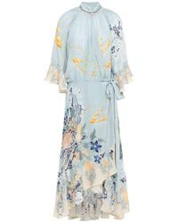Camilla Crystal-embellished Printed Silk Crepe De Chine Midi Wrap Dress Sky Blue