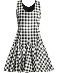 Dolce & Gabbana - Pleated Gingham Cotton Mini Dress - Lyst