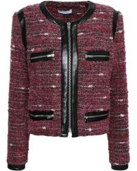 IRO - Woman Leather-trimmed Bouclé Jacket Plum - Lyst