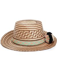 Yosuzi Pompom-embellished Woven Straw Sunhat Brown