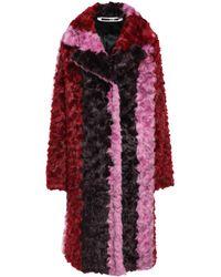 McQ Striped Faux Fur Coat Multicolor - Red