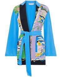 Emilio Pucci Printed Silk Crepe De Chine Kimono Bright Blue