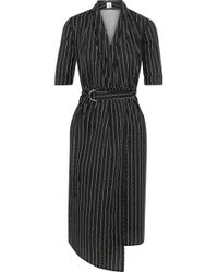 Iris & Ink Eloise Printed Cotton-poplin Wrap Dress Black