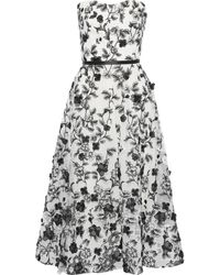 Marchesa notte - Strapless Floral-appliquéd Embroidered Tulle Gown White - Lyst