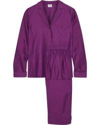 Iris & Ink Sharon Cotton And Silk-blend Twill Pajama Set Violet - Purple