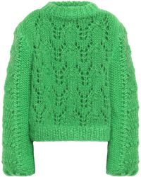 Ganni The Julliard Open-knit Mohair And Wool-blend Sweater Bright Green