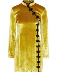 De La Vali Ginger Velvet Mini Dress - Yellow
