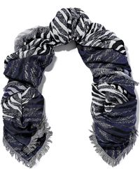 Sandro - Woman Fringed Cotton-blend Jacquard Scarf Indigo - Lyst