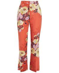 Etro Floral-jacquard Bootcut Trousers - Multicolour