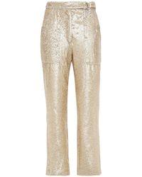 Jonathan Simkhai Sequined Crepe De Chine Straight-leg Trousers - Metallic
