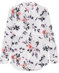 Equipment Signature Floral-print Washed-silk Shirt White