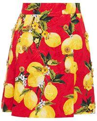 Dolce & Gabbana Embellished Printed Cotton-blend Jacquard Mini Skirt Red