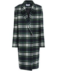 Claudie Pierlot Gold Checked Wool-blend Felt Coat Dark Green