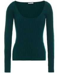 Reformation Mia Ribbed Cashmere And Wool-blend Jumper Dark Green