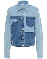 McQ Appliquéd Patchwork Denim Jacket Light Denim - Blue