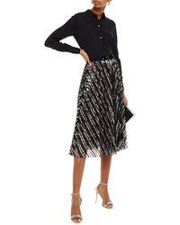 Philosophy Di Lorenzo Serafini Pleated Striped Sequined Tulle Midi Skirt - Black