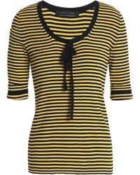 Marc Jacobs - Woman Pussy-bow Striped Cotton Jumper Yellow - Lyst