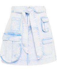 Vivetta Belted Bleached Denim Mini Skirt Light Denim - Blue
