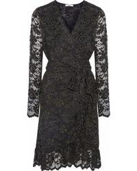 Ganni Flynn Lace Wrap Dress Forest Green - Black