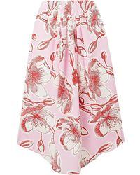 Stine Goya Blossom Floral-print Silk-satin Midi Skirt - Pink