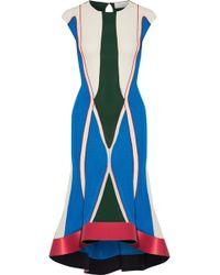 Esteban Cortazar - Asymmetric Satin-trimmed Color-block Stretch-knit Midi Dress - Lyst