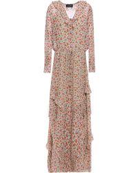 Saloni - Izzie Ruffle-trimmed Floral-print Silk-georgette Maxi Dress Light Green - Lyst