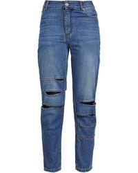 Each x Other Cutout Faded Boyfriend Jeans Mid Denim - Blue