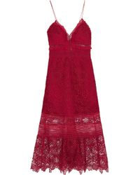 Self-Portrait - Ruffled Georgette-trimmed Guipure Lace Dress - Lyst