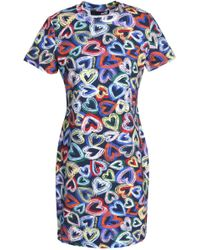 Love Moschino - Printed Stretch Cotton-jersey Mini Dress - Lyst